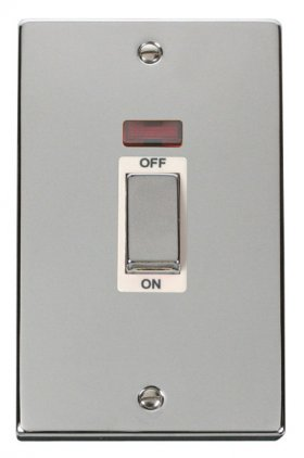 Click Deco Polished Chrome 45A Vertical Switch + Neon VPCH503WH