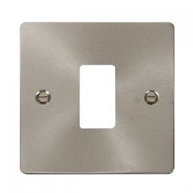 Click Define Brushed Steel 1 Gang Grid Pro Front Plate FPBS20401