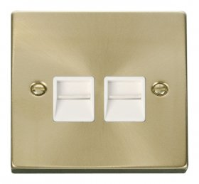 Click Deco Satin Brass Twin Secondary Telephone Socket VPSB126WH