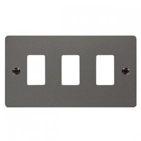 Click Define Black Nickel 3 Gang Grid Pro Front Plate FPBN20403