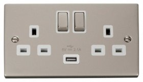 Click Deco Pearl Nickel USB Double Switched Socket VPPN570WH