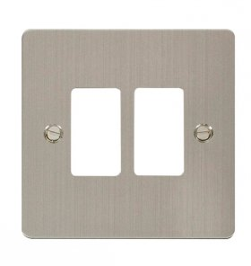 Click Define S/Steel 2 Gang Grid Pro Front Plate FPSS20402
