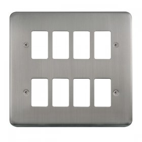 Click Deco Plus S/Steel 8 Gang Grid Pro Front Plate DPSS20508