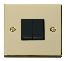 Click Deco Polished Brass 2 Gang 2 Way Switch VPBR012BK