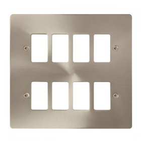 Click Define Brushed Steel 8 Gang Grid Pro Front Plate FPBS20508