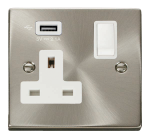 Click Deco Satin Chrome USB Single Switched Socket VPSC771UWH