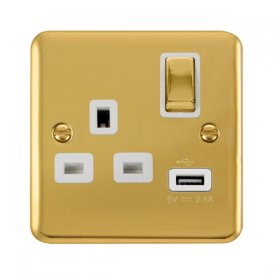 Click Deco Plus 13A Single Switched Socket USB DPBR571WH