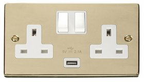 Click Deco Polished Brass USB Double Switched Socket VPBR770WH