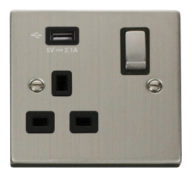 Click Deco Stainless Steel USB Single Switched Socket VPSS571UBK