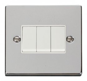 Click Deco Polished Chrome 3 Gang 2 Way Switch VPCH013WH
