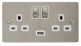 Click Define Stainless Steel USB Switched Socket FPSS570WH