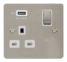 Click Define Stainless Steel USB Switched Socket FPSS571UWH