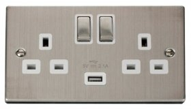 Click Deco Stainless Steel USB Double Switched Socket VPSS570WH