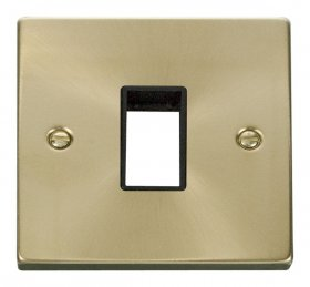 Click Deco Satin Brass 1 Gang Plate Single Aperture VPSB401BK