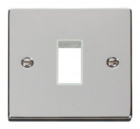 Click Polished Chrome Single Plate 1 Gang Aperture VPCH401WH
