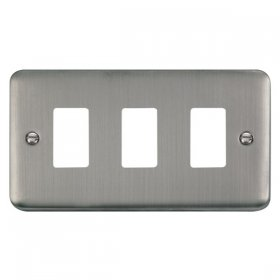 Click Deco Plus S/Steel 3 Gang Grid Pro Front Plate DPSS20403