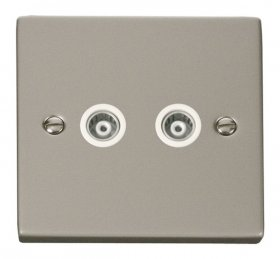 Click Deco Pearl Nickel Twin Isolated Coaxial Socket VPPN159WH