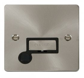 Click Define Brushed Steel Unswitched Fused Spur + F/O FPBS550BK