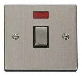 Click Deco Stainless Steel 20A DP Switch with Neon VPSS723BK
