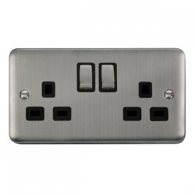 Click Deco Plus 13A Double Switched Socket DPSS536BK