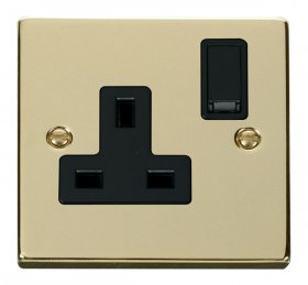 Click Deco Polished Brass 13A Single Switched Socket VPBR035BK