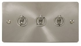 Click Define Brushed Steel 3 Gang 2 Way Toogle Switch FPBS423
