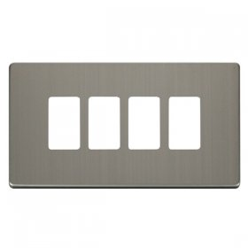 Click Definity S/Steel 4 Gang Grid Pro Front Plate SCP20404SS