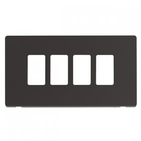 Click Definity Black 4 Gang Grid Pro Front Plate SCP20404BK