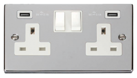 Click Deco Polished Chrome Twin USB Double Socket VPCH780WH