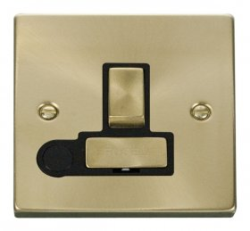 Click Deco Satin Brass Switched Fused Spur + F/O VPSB551BK