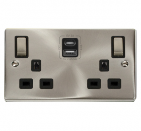 Click Deco Satin Chrome Type A & C USB Double Socket VPSC586BK