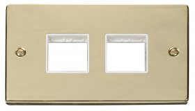 Click Deco Polished Brass Double Plate 4 Gang Aperture VPBR404WH