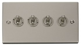 Click Deco Pearl Nickel 4 Gang 2 Way Toggle Switch VPPN424
