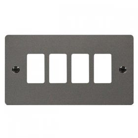 Click Define Black Nickel 4 Gang Grid Pro Front Plate FPBN20404