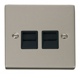 Click Deco Pearl Nickel Twin Master Telephone Socket VPPN121BK