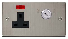 Click Deco S/Steel 13A 2 Gang Key Lockable Socket Neon VPSS675BK
