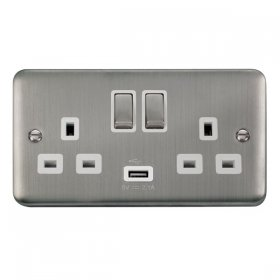 Click Deco Plus 13A Double Switched Socket USB DPSS570WH