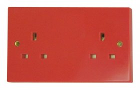 Click Red 13A 2 Gang Socket Outlet WA179