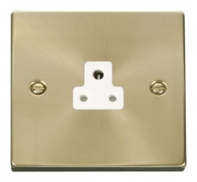 Click Deco Satin Brass 2A Single Round Pin Socket VPSB039WH