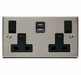 Click Deco S/Steel Type A & C USB Double Socket VPSS786BK