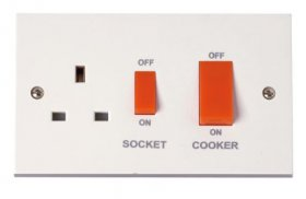 Click Polar 45A Cooker Switch with 13A Sw Socket Outlet PRW204