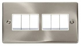 Click Deco Satin Chrome 6 Gang 2 Way Switch VPSC105WH
