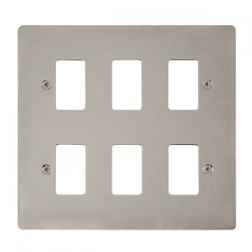 Click Define Pearl Nickel 6 Gang Grid Pro Front Plate FPPN20506