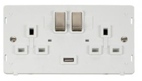 Click Definity 2 Gang USB Switched Socket Insert SIN570PWBS