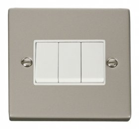 Click Deco Pearl Nickel 3 Gang 2 Way Switch VPPN013WH