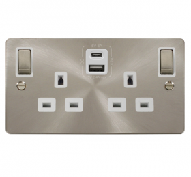 Click Define B/Steel Type A & C USB Double Socket FPBS586WH