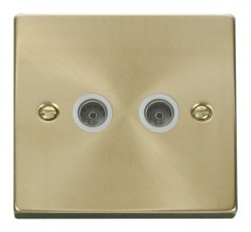 Click Deco Satin Brass Twin Non-Isolated Coax Socket VPSB066WH