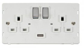 Click Definity 2 Gang USB Switched Socket Insert SIN570PWCH