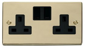 Click Deco Polished Brass 13A Double Switched Socket VPBR036BK