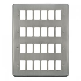 Click Deco Plus S/Steel 24 Gang Grid Pro Front Plate DPSS20524